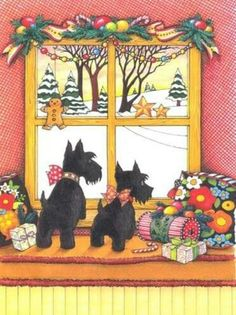 Christmas Scotties