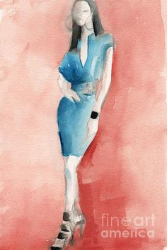 Turquoise Dress Watercolor Fashion Illustration - Beverly Brown Prints