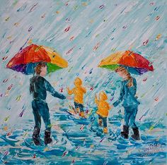 """12""""x12""""(30cm x 30cm), Puddle Jumping-Family Style (No. 2)"""", by Colors Of Cynthia Christine Family time....one of my fondest """"treasures"""" in my memory chest! My first puddle jumping painting was inspired with a photo of my grandson and I heading out for one of my favorite actives....finding puddles to """"stomp"""" in! Yes.....I did have my big rainbow umbrella! What are some of your own special fond memories that you treasure?"""