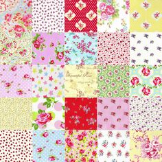 "Our gorgeous charm pack. Twenty five 5"" squares of very pretty vintage inspired quilting fabric. Perfect for patchwork and so many other fabric projects, it's available in our web store at: www.fabric8e.com"