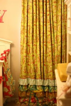 Curtains - adorable. @Rachel Socie these would be cute... of course in fabric that matches the nursery.