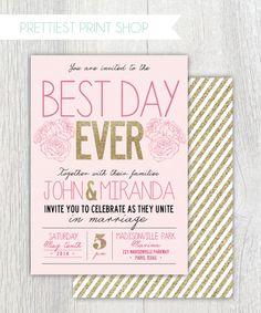 Printable wedding invitation  Best Day Ever  by PrettiestPrintShop