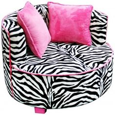 Fun Cool Funky Bedroom Ideas for Teen Girls : Hot Pink Zebra Striped Chair, this would so match my room perfectly! Funky Bedroom, Dream Bedroom, Girls Bedroom, Bedroom Ideas, Zebra Bedrooms, Pink Zebra Rooms, Zebra Print Rooms, Zebra Nursery, Bedroom Decor