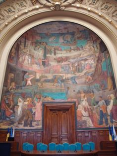 """History Of Romanian Trading"", ---------- mural by Cecilia Cuțescu-Storck --------- Bucharest, Romania ----------------------- (Aula Magna of Academy Of Economic Studies). Bucharest Romania, Culture, History, Artist, Painting, Historia, Painting Art, Paintings, History Activities"