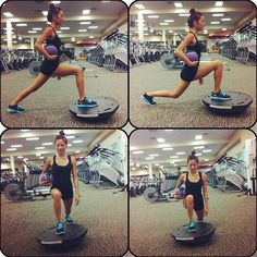 Front Lunges on Bosu - Targets your glutes & hamstrings. Adding a Bosu ball promotes muscle recruitment & core stability. When holding a medicine ball on your side, it increases your need to stay neutral for your core. Start out with one foot on the middle of the Bosu & other foot behind. When you are balanced, slowly drop your back knee as far as you can but don't touch the floor. Also when going down, make sure your front knee doesn't go pass your toes. Then switch. Do 15-20 reps or as much...