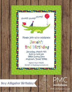 Alligator birthday party invitation boy birthday party invite alligator birthday party invitation boy birthday party invite alligator theme gator party invite boys printable design kid60 pinterest filmwisefo