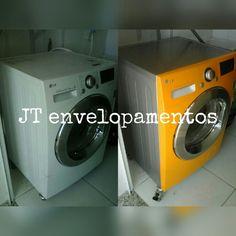 Maquina lava e seca, prata e amarelo, sua area de serviço tambem merece ;)