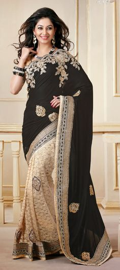 124049: Black and Grey, Beige and Brown color family Saree with matching unstitched blouse.