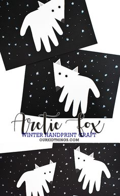 This simply made Handprint Arctic Fox Craft is such a great kids winter craft keepsake, it kinda makes the cold weather worth it. Fox Craft Preschool, Kindergarten Crafts, Classroom Crafts, Moose Crafts, Fox Crafts, Animal Crafts, Winter Art Projects, Winter Crafts For Kids, Toddler Art