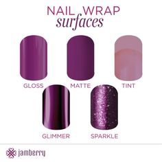 Jamberry nail wraps are available in five fun finishes. With 300 designs, there is something for everyone!