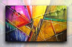 Quadro abstrato acrílico QB016 (120cm x 70cm) | Britto Quadro Abstrato Espontâneo