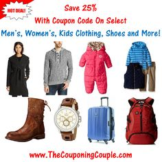 ***HOT DEAL*** 25% off Men's, Women's and Kids Clothing, Boots, Luggage, Jewelry and MORE with Coupon Code!  Click the link below to get all of the details ► http://www.thecouponingcouple.com/25-off-clothing-boots-luggage-jewelry-and-more-coupon-code/  #Coupons #Couponing #CouponCommunity  Visit us at http://www.thecouponingcouple.com for more great posts!