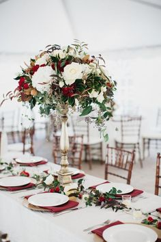 Top 11 Winter Wedding Centerpieces for 2019 Trends - Description: Every wedding table needs a centerpiece. Thus, these winter wedding centerpieces discussed below are surely something to impress the gues. Christmas Wedding Centerpieces, Fall Wedding Centerpieces, Wedding Flower Arrangements, Flower Centerpieces, Wedding Decorations, Tall Centerpiece, Centerpiece Ideas, Floral Arrangements, Lush Christmas