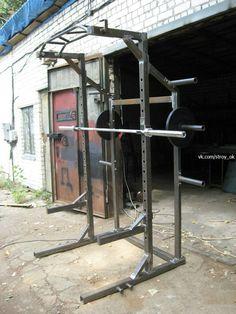 Home gym squat rack health 36 ideas Home Gym Set, Home Made Gym, Diy Home Gym, Gym Room At Home, Homemade Gym Equipment, Diy Gym Equipment, No Equipment Workout, Home Gym Garage, Basement Gym