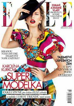 Karolina Kurková in colorful Dolce & Gabbana dress for Elle Czech March 2013 shot by Branislav Šimončík