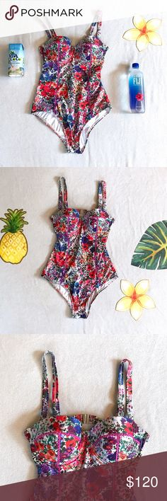 MinkPink Secret Garden Floral Swimsuit This is a beautiful floral swimsuit from the brand MinkPink. It is a one piece but the straps can be detached making it a strapless suit. The cups are padded. 83% Polyester and 17% Elastane. Never been worn! MINKPINK Swim Bikinis