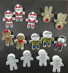 Just Sponge It: Cookie Cutter Clips, Cookie Cutter Christmas Bundle, Cookie Cutter Halloween, Gold Binder Clips, Red Glimmer paper, markers, Clear Wink of Stella, Glue Dots, DIY, Stampin' Up!, Christmas, Halloween
