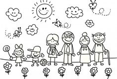 Happy family with grand mother,father,son,daughter children cartoon - Royalty-free Adult stock vector Family Drawing, Drawing For Kids, Art For Kids, Stick Figure Family, Stick Family, Machine Silhouette Portrait, Family Coloring Pages, Family Clipart, Stick Figure Drawing