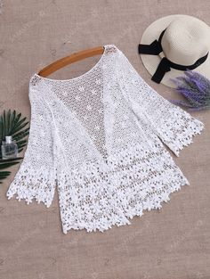 Hollow Out Crochet Kimono Beach Cover Up , Kimono Beach Cover Up, Lace Kimono, Chiffon Kimono, Sammy Dress, Beach Covers, Plus Size Tops, Fashion Outfits, Fashion Clothes, Mens Fashion