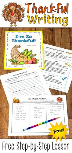 Free Thanksgiving writing activity from Laura Candler! This step-by-step lesson includes graphic organizers and printables to guide students through the process of writing a 5 paragraph essay about what they're thankful for. When finished, students glue their essays into a folder, decorate them, and share them with their families on Thanksgiving Day!