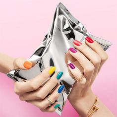 A collection of rainbow colours across your nails looks pretty and playful but still chic. Try it out now and see more style inspiration at Redonline.co.uk