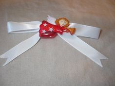 Red Angel with White Bow Barrette