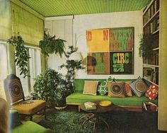 1970's living space, so cool---I just love how this looks. When I'm decorating my own house the living room with definitely be green :)