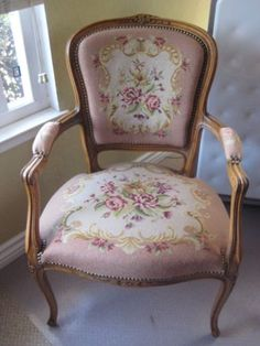 RARE 18th Century French Louis XVI Style Belgium Armchair Needlepoint Upholstery | eBay