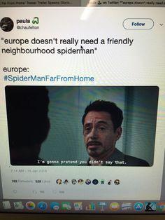 Spider Man : Far From Home !  Spider Man T Shirt $9.99 ! All Avengers, Avengers Memes, Marvel Memes, Superhero Memes, Marvel 3, Marvel Funny, Marvel Universe, Marvel Comics, Amazing Spider