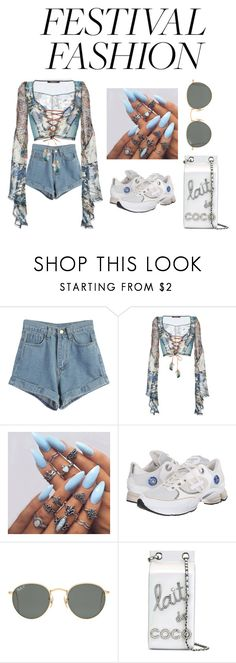 """blue neighborhood"" by aintnoloveydovey ❤ liked on Polyvore featuring WithChic, Roberto Cavalli, adidas, Ray-Ban and Chanel"