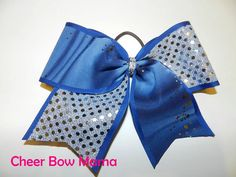 Blue & Silver Cheer Bow by Cheer Bow Mama