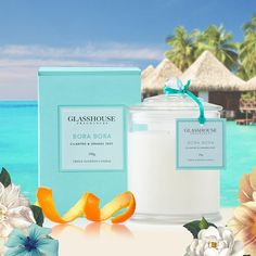 Inspired by remote holidays where thatched bungalows hover over clear aqua waters. Visit Bora Bora with a Glasshouse Fragrances Triple Scented Candle.