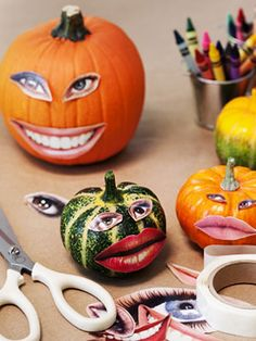 Freaky but looks like fun. Short cuts to decorating pumpkins