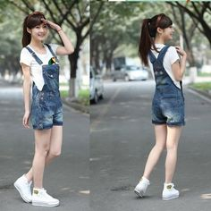 16a0052e55e 2016 New summer women students loose denim overalls big yards casual shorts  pants suspenders Jumpsuits   Rompers women