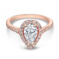 Rose Gold The One Pear Diamond Halo Engagement Ring