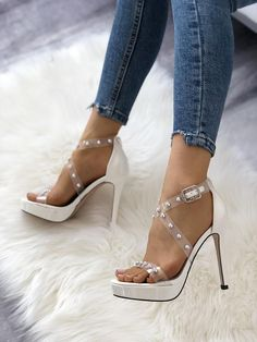 Sexy Transparent Beading Cocktail Party Sandals