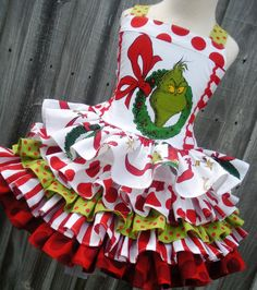 Items similar to Made to Order Custom Boutique Dr Seuss Fabric Grinch Ruffled Christmas Dress Girl 2 3 4 5 6 7 8 Infant Toddler on Etsy Grinch Christmas Decorations, Grinch Christmas Party, Grinch Party, Christmas Pageant, Christmas Aprons, Girls Christmas Dresses, Christmas Costumes, Ugly Christmas Sweater, Girls Dresses