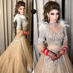 Lehengas with stellar Feather Detailing is every Brides' Fancy! Indian Designer Outfits, Indian Outfits, Infinity Dress Styles, Sikh Bride, Reception Gown, Indian Gowns, Best Wedding Photographers, Bridal Lehenga, Bollywood Fashion
