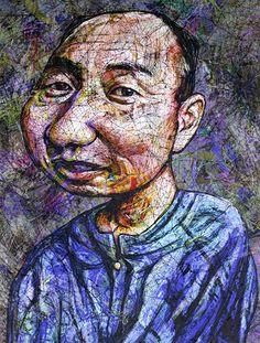 YiPyung Kim 김이평 // 'Portrait of Choi, Byung Tae' '최병태의 초상' // 80x110cm, Reactive dye, Acid dye, Silk, 2014