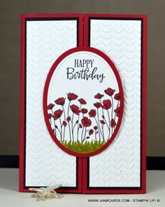 Handmade Birthday Cards, Happy Birthday Cards, Greeting Cards Handmade, Handmade Card Making, Birthday Wishes, Fancy Fold Cards, Folded Cards, Stampin Up Anleitung, Poppy Cards