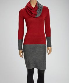 Take a look at this Red & Charcoal Color Block Wool-Blend Cowl Neck Dress by Love Token on #zulily today!