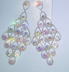 AB and clear stones  Earrings by Pageantblingnthings on Etsy, $30.00