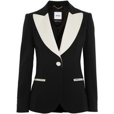 Moschino Satin-trimmed crepe tuxedo jacket (337.945 CLP) ❤ liked on Polyvore featuring outerwear, jackets, blazers, moschino, black, slim fit jackets, dinner jacket, shoulder pad blazer, tuxedo blazer and slim blazer