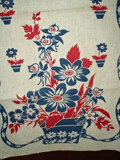 Vintage 1950s Floral Kitchen Dish Tea Towels Red Blue Flowers Unused - The Gatherings Antique Vintage