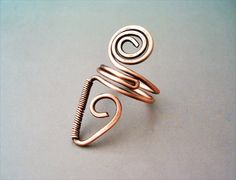 Wire Wrapped Adjustable Copper Ring - wire wrapped ring handmade - wire wrapped jewelry handmade by GearsFactory on Etsy https://www.etsy.com/listing/176487674/wire-wrapped-adjustable-copper-ring-wire