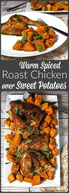 Warm Spiced Roast Chicken over Sweet Potatoes (Fall Recipes Meat) Chicken Flavors, Chicken Recipes, Duck Recipes, Chicken Meals, Family Recipes, Family Meals, Clean Eating, Healthy Eating, Healthy Food