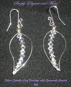 Sparkling Silver Leaf Earrings with by SimplyElegantandMore, $15.00