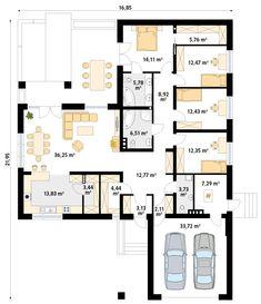 DOM.PL™ - Projekt domu MT Ambrozja 6 CE - DOM MS3-80 - gotowy koszt budowy Three Bedroom House Plan, Family House Plans, Best House Plans, Bedroom House Plans, Home Design Floor Plans, House Floor Plans, Modular Home Plans, One Storey House, Indian House Plans