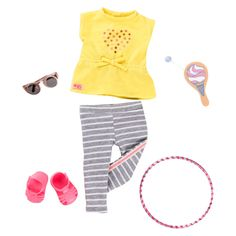 Our Generation Hula Hooray - Playtime Outfit For Dolls : Target Girl Doll Clothes, Girl Dolls, Og Dolls, Barbie Doll, Doll Toys, Our Generation Doll Clothes, Ropa American Girl, Yellow T Shirt, Hula Hoop