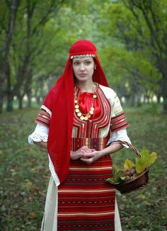 Bulgarian woman in traditional clothes